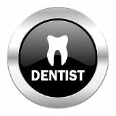 dentist black circle glossy chrome icon isolated