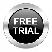 free trial black circle glossy chrome icon isolated