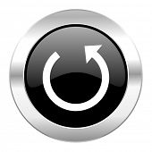 rotate black circle glossy chrome icon isolated