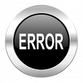 error black circle glossy chrome icon isolated