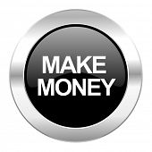 make money black circle glossy chrome icon isolated
