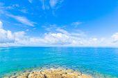 Reef and sea of emerald green in Okinawa