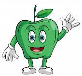Mascot Green Apple Smile