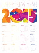 Happy New Year Colorful Calendar 2015 Design. Vector.