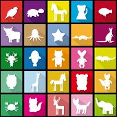 Set Silhouettes Of Animals Seamless Pattern In Trendy Flat Style.  Black Background. Vector
