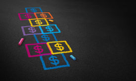 stock photo of playground school  - Paying for school concept and education financing business concept as a chalk drawing of a hopscotch game on a floor with dollar signs - JPG