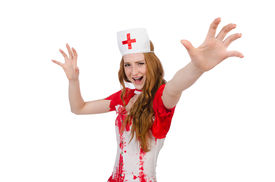 foto of witch-doctor  - Woman doctor covered in blood in halloween concept - JPG
