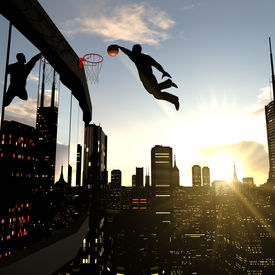 pic of slam  - A businessman performing a slam dunk on the top of a skyscraper - JPG