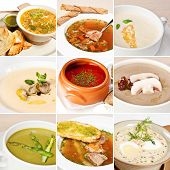 foto of vegetable soup  - First courses collage including vegetable minestrone creamy cheese soup potato soup mushroom soup asparagus soup okroshka bread soup with veal and ukrainian borsch - JPG