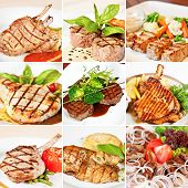 picture of veal  - Grill menu collage including grilled veal and pork chops chicken veal medallions with vegetables mutton kebab and pork shashlik - JPG