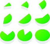stock photo of market segmentation  - 3d green piecharts - JPG