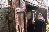 picture of wooden horse  - caucasian teenage girl with her horse friend peeking from old wooden stable door