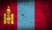 picture of mongol  - Flag of Mongolia with old texture - JPG