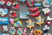 picture of keepsake  - Detailed view of some typical and coloured souvenirs of Sicily along the streets of the town - JPG