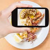 image of plate fish food  - photographing food concept  - JPG