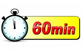 stock photo of stopwatch  - illustration of sixty minutes stopwatch design icon - JPG