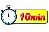 stock photo of stopwatch  - illustration of ten minutes stopwatch design icon - JPG