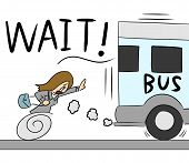 pic of running-late  - illustration cartoon woman running for bus too late - JPG