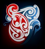 picture of maori  - Vector illustration of tribal tattoo shape Maori origin - JPG