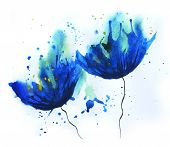 picture of mood  - Watercolor of cornflower blue flowers - JPG