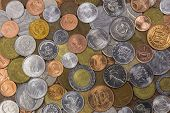 stock photo of shilling  - A collection of coins from around the world - JPG