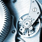 image of clos  - very close up view on watch gears - JPG