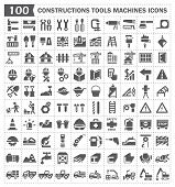 stock photo of construction machine  - 100 icon of constructions tools and machines - JPG