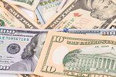 picture of twenty dollar bill  - Close up of different dollar bills - JPG