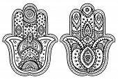 foto of hamsa  - Vector Indian hand drawn hamsa with ethnic ornaments - JPG