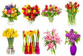stock photo of easter lily  - Bouquet of colorful flowers in a vase - JPG