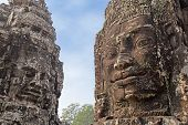 foto of rock carving  - two rock carvings of the Khmer civilization - JPG