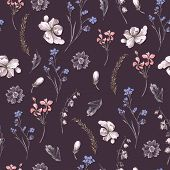 foto of wildflowers  - Vintage Floral Seamless Background with Wildflowers - JPG