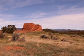picture of pueblo  - The ruins of the Pecos Mission is the center piece of the whole Pecos Pueblo Historical Park in New Mexico - JPG