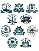 stock photo of anchor  - Marine emblems and banners with helm - JPG