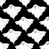 stock photo of eerie  - Danger ghosts seamless pattern for halloween or any eerie design - JPG