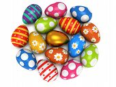 picture of priceless  - Unique golden egg among pale of Easter Eggs isolated on white background - JPG