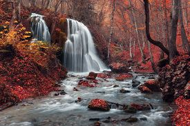 picture of crimea  - Beautiful waterfall in autumn forest - JPG