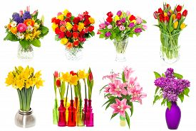 picture of rose flower  - Bouquet of colorful flowers in a vase - JPG