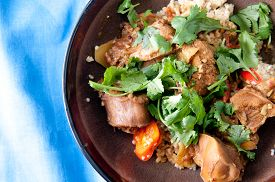 foto of jerks  - jerked chicken and quinoa with cilantro - JPG