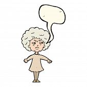 picture of bitters  - cartoon bitter old woman with speech bubble - JPG