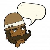 image of hunter  - cartoon victorian big game hunter with speech bubble - JPG