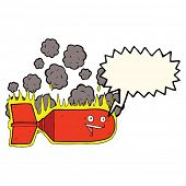 picture of bomb  - cartoon falling bomb with speech bubble - JPG