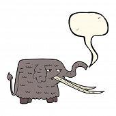 stock photo of mammoth  - cartoon woolly mammoth with speech bubble - JPG