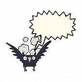 picture of spooky  - cartoon spooky bird with speech bubble - JPG