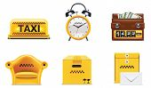 Vector Taxi und Transport Service Icon Set.
