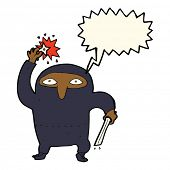 stock photo of ninja  - cartoon ninja with speech bubble - JPG