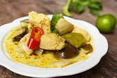 stock photo of curry chicken  - green curry with chicken  - JPG