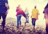 picture of bonding  - Friendship Bonding Relaxation Summer Beach Happiness Concept - JPG