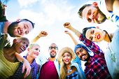 stock photo of huddle  - Friends Huddle Join Holiday Party Group Concept - JPG