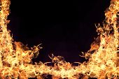 pic of flame  - Fire flames collection isolated on black background - JPG